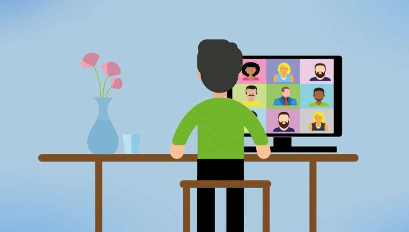 A graphic illustration depicting a person seated in front of a desktop speaking to several people via a video conferencing app