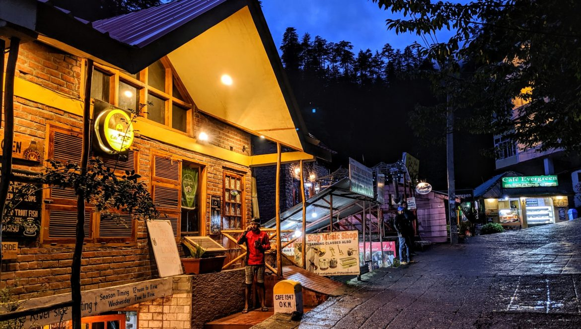 A deserted street in Manali, dotted with hotels and restaurants whose business were affected by COVID-19