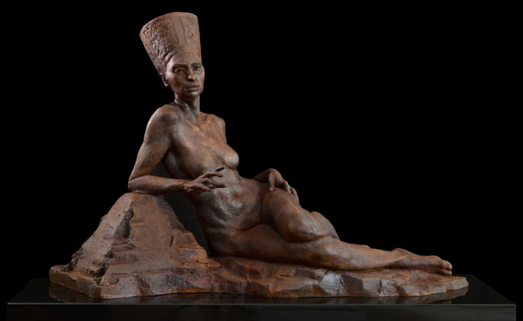 A bronze sculpture of an Egyptian queen called the 'Transfigured Immortality', the latest sculpture by Dr Gindi
